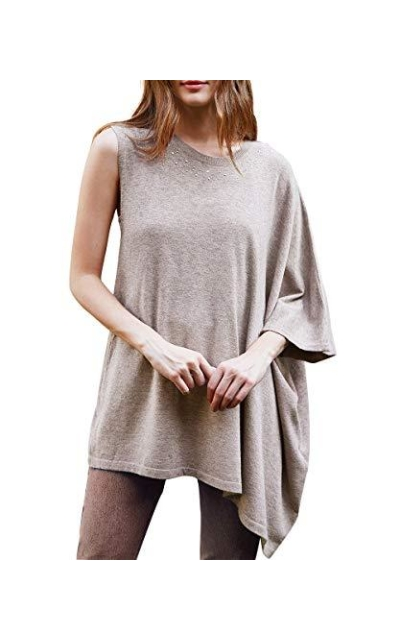Boxy Asymmetrical One-Sleeve Pullover Sweater