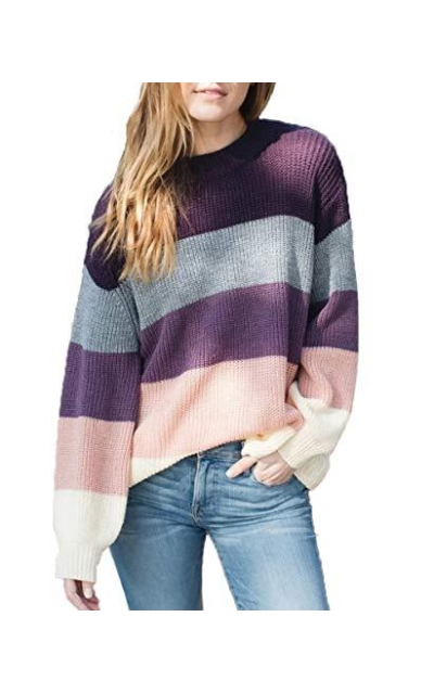 ZESICA Striped Color Block Sweater