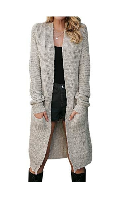 Fargeous Open Front Maxi Cardigan Sweater