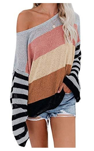ZESICA Rainbow Striped Color Block Top