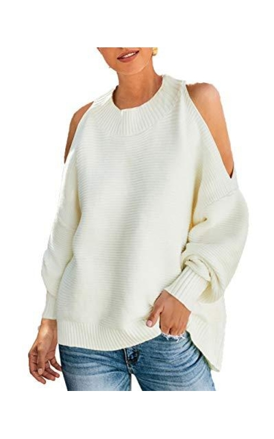 PRETTYGARDEN  Cold Shoulder Pullover Sweater