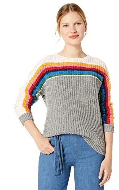Cable Stitch Chunky Stripe Crewneck Sweater