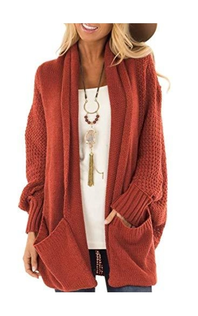 Acelitt Open Front Knitted Cardigan Sweater