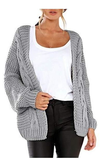 luvamia Open Front Cable Knit Sweater Cardigan
