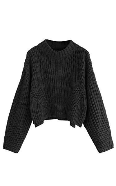 SheIn Oversized Batwing Sleeve Crop Top Sweater