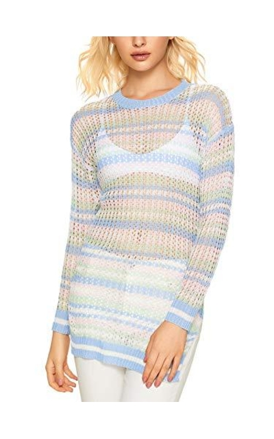 MakeMeChic Striped Knit Top