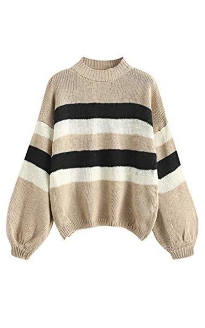 ZAFUL Lantern Sleeve Striped Sweater