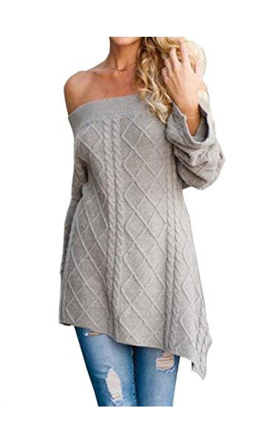 CHOiES  Off Shoulder Knit Asymmetric Knit Sweater