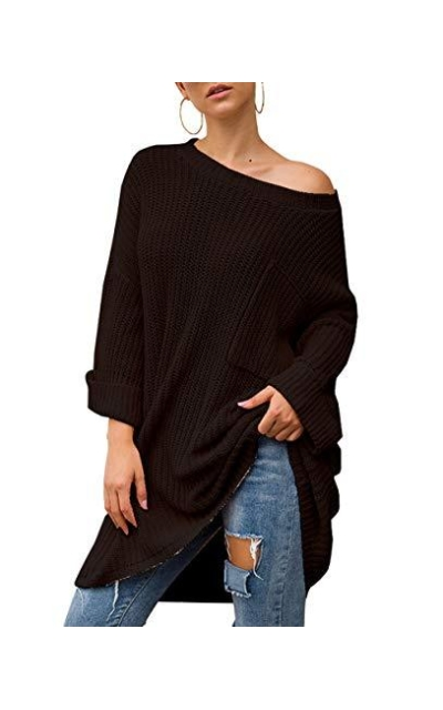 KIRUNDO Oversized Loose Solid Color Pullover