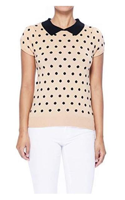 YEMAK Classic Polka Dot Contrast Collar Sweater