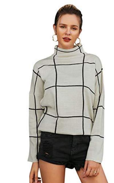 BerryGo Turtleneck Plaid Pullover Sweater
