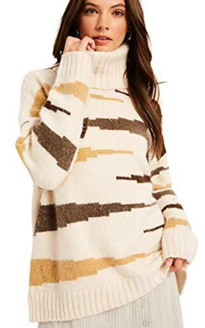 THFB Multi Stripe Zebra Turtleneck Pullover Sweater