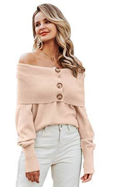 BerryGo Off Shoulder Pullover Sweater with Buttons