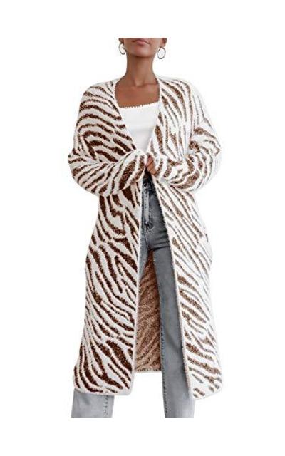 Saodimallsu Fuzzy Open Front Cardigan Sweater
