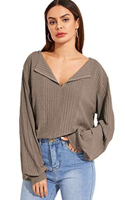SheIn Casual Lapel Ribbed Tee