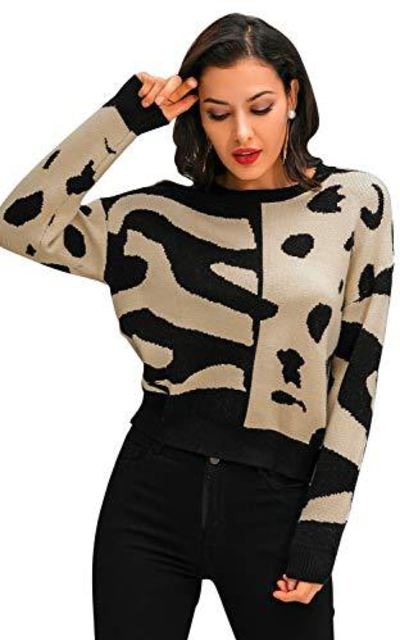 Glamaker Color Block Leopard Print Sweater