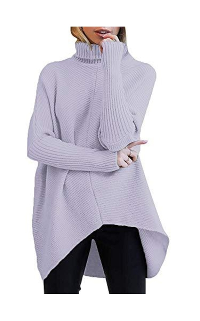 ANRABESS Turtle Neck Knitted High-Low Sweater