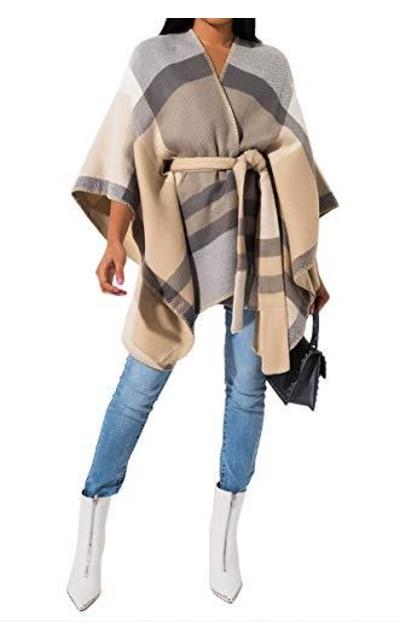 AKIRA Soft Knit Shawl Style Plaid Tie Front Poncho