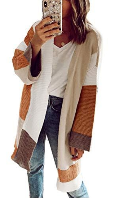 Angashion Color Block Kimono Cardigan