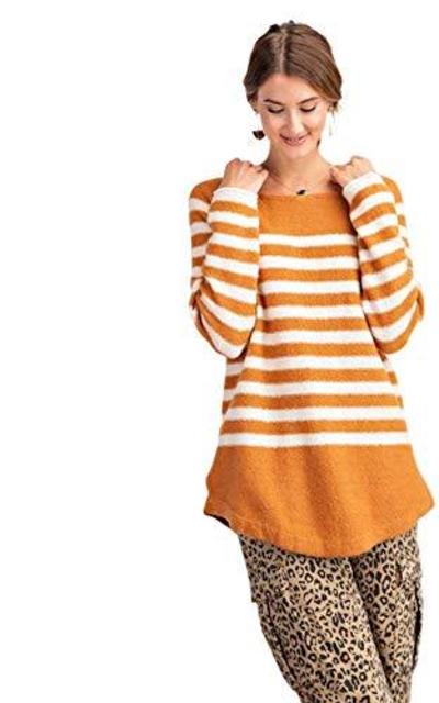 Long Sleeve Stripe Knit Tunic Sweater