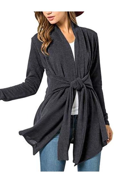 Open Front Cotton Kimono Tie Waist Cardigan
