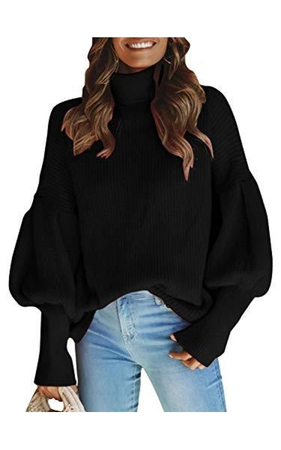 Glamaker Turtleneck Long Lantern Sleeve Knit Sweater