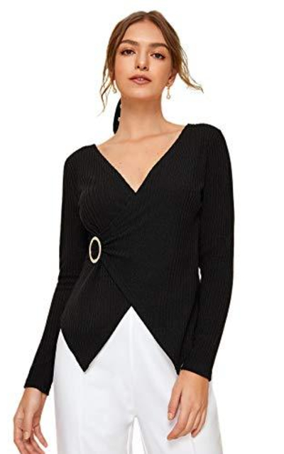 SweatyRocks Deep V Wrap Shirt