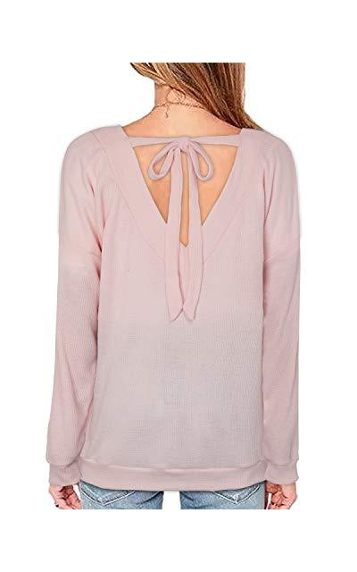 OUGES Tie Back Knit Top