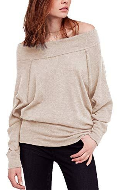 iGENJUN Dolman Sleeve Off The Shoulder Sweater