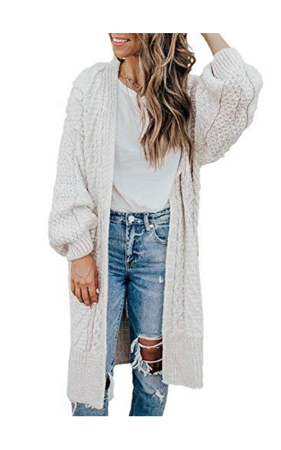 Dokotoo Open Front Cable Cardigans