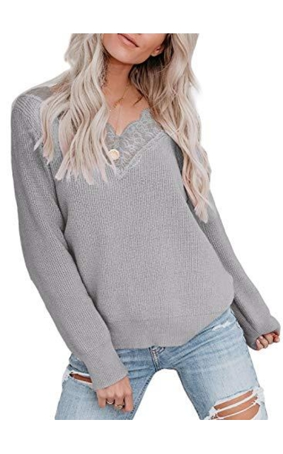 LOSRLY V Neck Pullover Lace Sweater