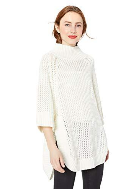 Cable Stitch Rib-Collar Tunic Sweater