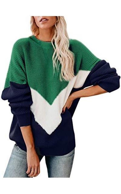 Saodimallsu Chevron Color Block Slouchy Sweater