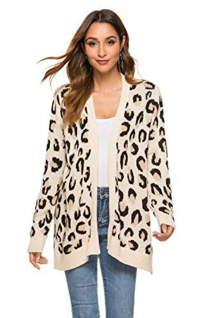 VNDFLAG Animal Print Cardigan Sweater