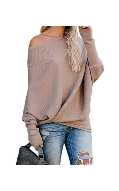 HZSONNE Bat Wing One Shoulder Sweater