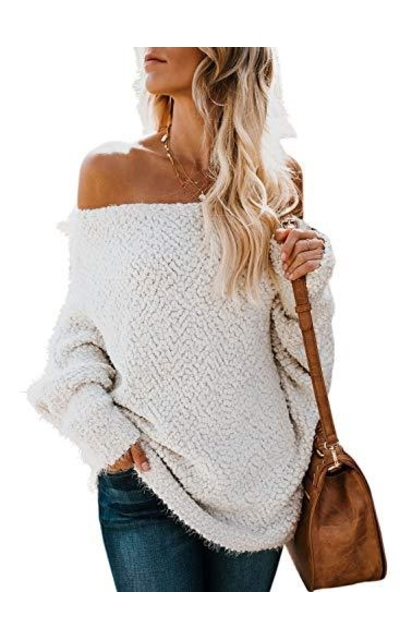 ZKESS Off The Shoulder Oversized Popcorn Sweater