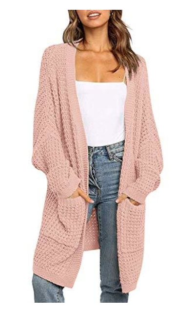 YIBOCK Open Front Chunky Knit Cardigan Sweater