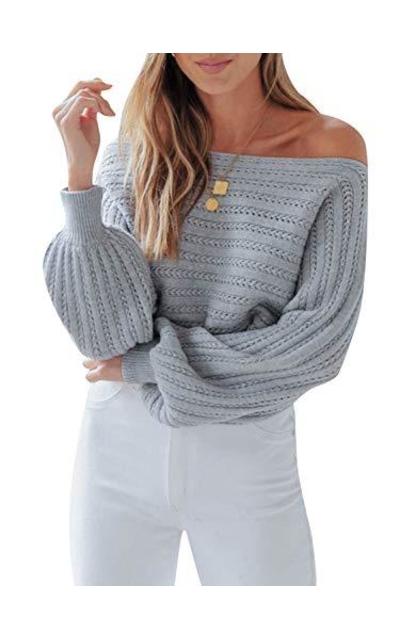 Zandiceno Off Shoulder Lantern Sweater