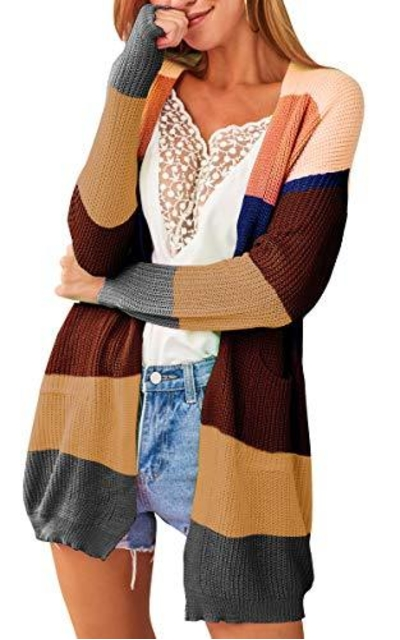ECOWISH Color Block Oversized Sweater Cardigan