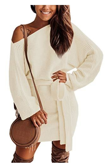Clarisbelle One Shoulder Tie Waist Sweater Dress