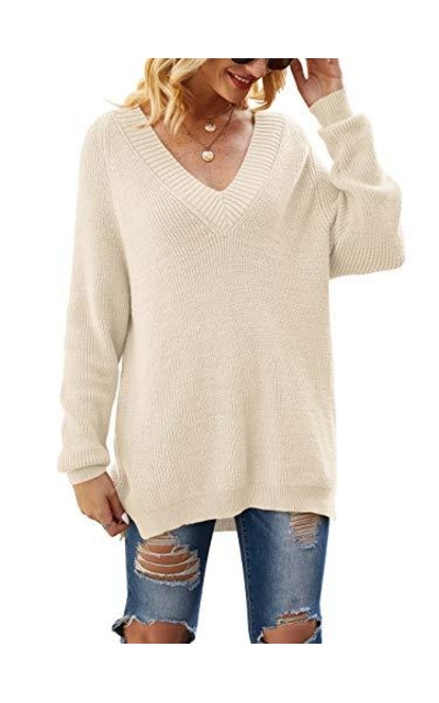 ANRABESS Deep V Neck Long Sleeve Knit Pullover Sweaters
