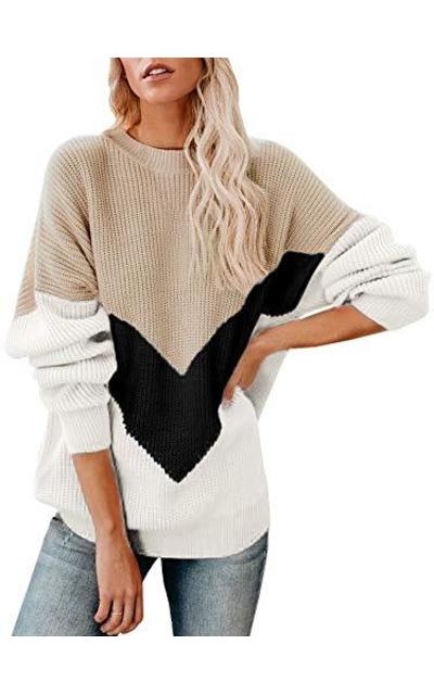 Soulomelody Oversized Chevron Sweater