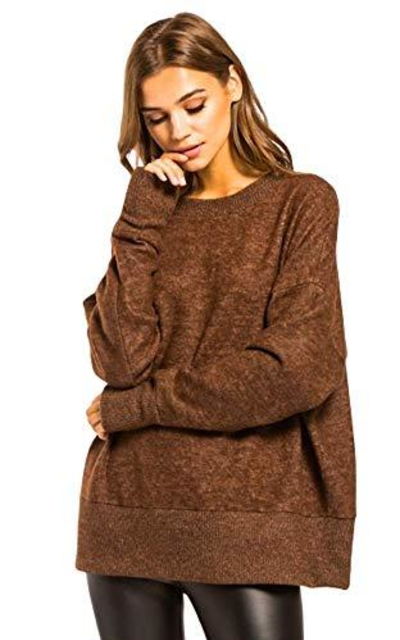 Knit Long Sleeve Pullover Tunic Top