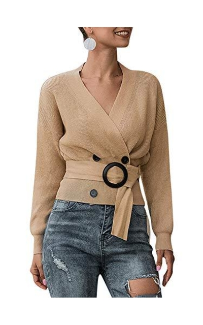 MsLure V Neck Button Knit Crop Sweater