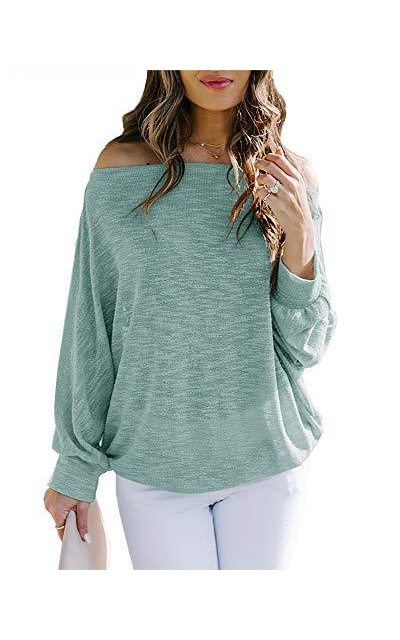 Foshow Off Shoulder Lightweight Knit Sweater