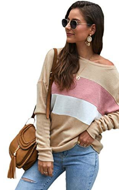 SweatyRocks Color Block Oversized Knit Sweater