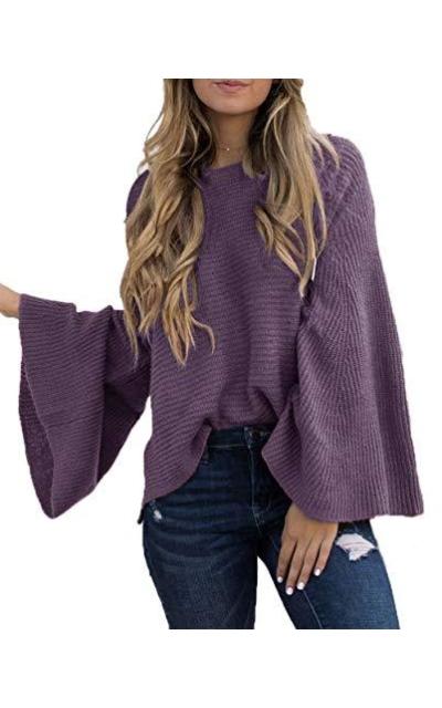 HZSONNE  Bell Sleeve Sweater