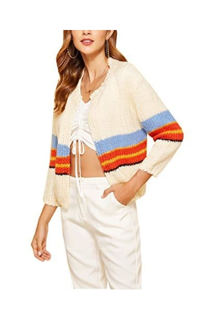 Firehood Cropped Open Front Cardigan Sweater