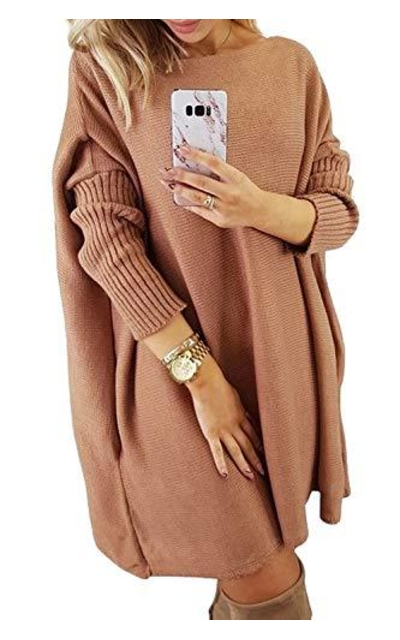 CILKOO Oversized Tunic Sweater Dress