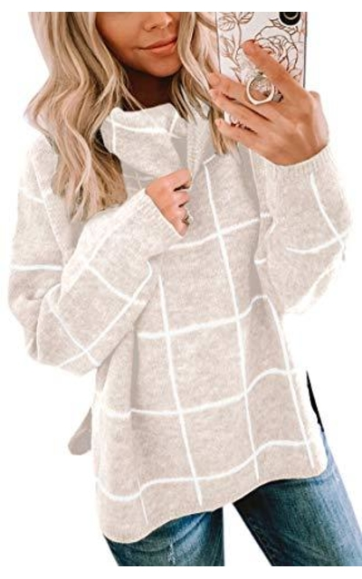 ECOWISH Turtleneck Plaid Sweaters